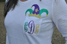 Mardi Gras Monogram Shirt with Jester Hat by ChristinaDickson