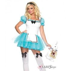 Enchanted Alice in Wonderland Costume Price: $45.50  Light blue tutu style mini dress has black satin ribbon accents and attached apron front. Includes the matching head piece. Purse and other items sold separately.  #cosplay #costumes #halloween