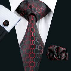 """3pc Silk Necktie Set Color: Black,Gray and Red 59"""" Length, 3.4"""" Width Matching cufflinks and pocket square"""