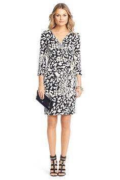 DVF New Julian Two Silk Jersey Wrap Dress In Feather Leopard Black $292