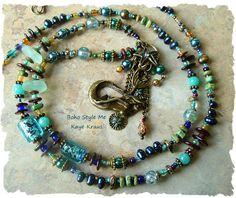 Mermaid Jewelry, Mermaid Beaded Statement Necklace, Long Bohemian Necklace, Charm Pendant, Boho Style Me, Kaye Kraus by BohoStyleMe on Etsy