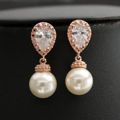 Pearl Jewelry ROSE GOLD Pearl Cubic Zirconia Pearl Bridal Earrings Posts with Swarovski Cream Pearls Wedding Jewelry on Etsy, $30.00
