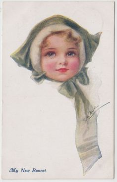 E C Brisley MY NEW Bonnet Cute Young Girl 1917 Bataillon Feldpost 48 WW1 | eBay