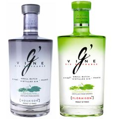 G'Vine. Clear. Intense aromas of cinnamon bark, candied lemon peels, almond bark, and floral juniper. A must try gin for innovative cocktails. From France.