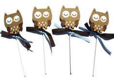 Items similar to Brown Woodland Owl Animal Themed Party Centerpiece Sticks Set of 4 - Birthday Party or Baby Shower on Etsy Owl Party Decorations, Party Centerpieces, Party Themes, Owl Animal, Owl Pet, 4th Birthday Parties, Woodland, Baby Shower, Brown