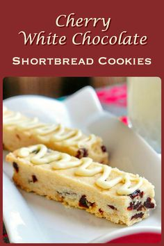 Cherry White Chocolate Shortbread Cookies - there is something very special about the simple deliciousness of good shortbread cookies, especially this fantastic version with dried cherries & white chocolate. Cookie Desserts, Just Desserts, Cookie Recipes, Delicious Desserts, Dessert Recipes, Chocolate Shortbread Cookies, Shortbread Recipes, Galletas Cookies, Shortbread Bars