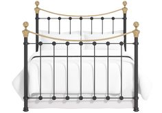 Selkirk Iron/Metal Bed Frame with Brass Finials by The Original Bed Co. Available in a Satin Black, Glossy Ivory or a Satin White finish. Black Iron Beds, Brass Bed, Vintage Iron, Metal Beds, Bed Frame, King Size, Hamilton, The Originals, Antique Brass