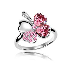 6ef09bc05f90 Swarovski crystal ring sweet four leaf (red) From Crystaljewelryuk.com Pink  Jewelry
