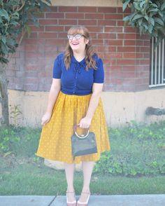Collectif sweater, Lindy Bop yellow polka dot dress, Modcloth Chelsea Crew heels, vintage purse | @room334