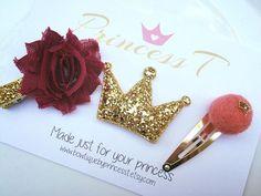 Girls/ Baby Hair Clip, Burgundy Flower, Gold Glitter Crown, Gold Snap Clip Set,  Baby Gold Hair Clip Set, Christmas/Holiday Hair Clip