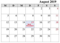 Kalender Notizen August 2019 Mit Feiertagen Kalender August, Words, Holiday, Horse