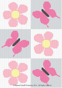 Crochet Patterns - BUTTERFLIES and DAISIES Baby Afghan Pattern *EASY*
