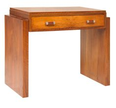 British Walnut Art Deco Desk 1930s
