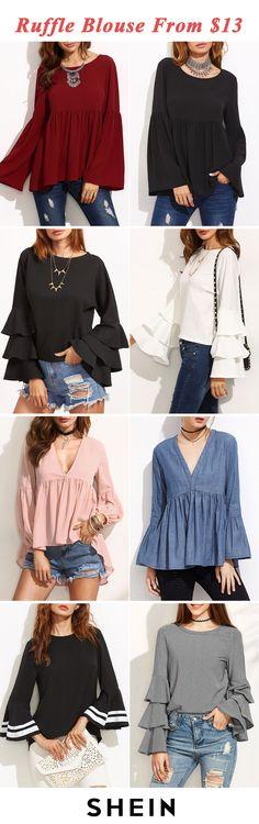 Ruffle blouses start at $13
