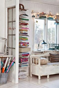 Shabby Chic JoyA Swedish Home with a Vintage Vibe!by Shabby Chic Joy Style At Home, Vertical Bookshelf, Vertical Storage, Deco Cool, Charming House, Interior Decorating, Interior Design, Decorating Ideas, Interior Stylist