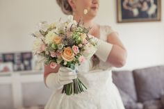 Dahlia, Lavender, Astrantia, Honesty & Rose hand tied, @Di Graham @ Roots Fruits & Flowers, Photography Candysnaps Wedding Photography