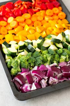 Oil Free Rainbow Roasted Vegetables w/ Thyme & Balsamic