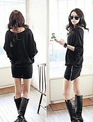 RXHX  Women's Fashion Round Neck Solid Color Batwing Sleeve Dress Save up to 80% Off at Light in the Box using coupon and Promo Codes.