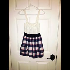 HCO White Blue and Pink Dress Hollister white blue and pink spring dress size xs. No stains or snags. Hollister Dresses Mini