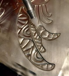 MercArt: The Metal Embosser: Tangles on Pewter and a Rooster stencil