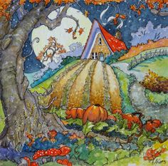 Full Moon Harvest Storybook Cottage print from original Watercolor painting/moon.pumpkins/house/deco/bungalow/6X6 inches