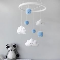 Cloud Mobile With Pom Poms for Boys or Baby Nursery