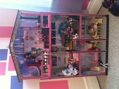 DIY monster high doll house (I really like the vertical stripes on the trim... could do with tape)