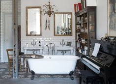 Eclectic Traditional Bathroom with Piano