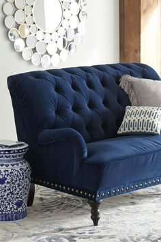 A Navy blue Loveseat Furniture can make an impression in virtually any family room, living room, , b Blue Velvet Loveseat, Blue Couches, Navy Sofa, Navy Blue Velvet Sofa, Velvet Tufted Sofa, Blue Home Decor, White Decor, Navy Blue Decor, Living Room Decor Blue