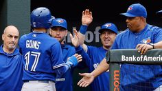 Ryan Goins Blue Jays shortstop with game Reaches base 6 times in AL East-clinching win vs. Sports Baseball, Baseball Cards, Hit Games, American League, Toronto Blue Jays, Bowling, First Time, Division, Fan