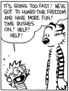 Calvin and Hobbes - It's going too fast! We've got to hoard our freedom and have more fun! (This is me on Sundays)