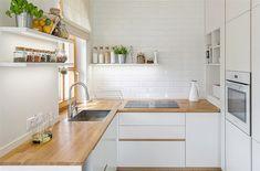 The kitchen is custom made in matte white varnish. Small Kitchen Diner, Small White Kitchens, New Kitchen, Kitchen Cabinet Design, Modern Kitchen Design, Interior Design Kitchen, Kitchen Designs, Home Decor Kitchen, Home Kitchens