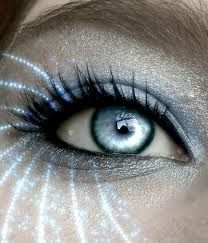 cool sky blue eye and light blue pixie eyeshadow.