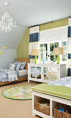 I like the layout for a shared bedroom. Green & Blue Kid's Bedroom | photo Michael Graydon | design Erin Feasby | House & Home