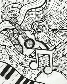 60 ideas drawing ideas music coloring pages for 2019 Coloring Book Pages, Printable Coloring Pages, Coloring Sheets, Doodle Coloring, Printable Art, Art Music, Doodle Art, Music Doodle, Art Lessons