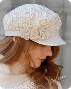 Heirloom Lace Fiddlers Cap by Green Trunk Designs hat lace millinery mori shabby chic greentrunkdesigns Fancy Hats, Cute Hats, Hat Patterns To Sew, Love Hat, Scarf Hat, Mode Style, Hats For Women, Headpiece, Crochet