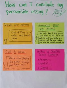 Possible ways to conclude your persuasive essay.
