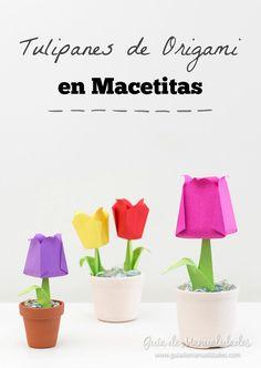 Tulipanes de origami en macetitas Origami Paper, Planter Pots, Paper Crafts, Room Decor, Ideas, Diy, Gifts, Mothers, Decoration