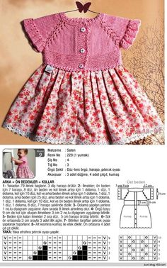 Combination knitted dress – knitted top with fabric skirt – Babykleidung Knit Baby Dress, Knitted Baby Clothes, Baby Cardigan, Crochet Fabric, Crochet Girls, Outfit Combinations, Diy Dress, Baby Sweaters, Little Girl Dresses
