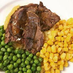 Roast  beef dinner with mashed potatoes turnip corn and peas. #dinner #supper #food #roast #roastbeef #meat