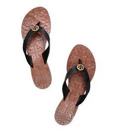Tory Burch Tumbled Leather Thora Sandal : Women's Flip Flops