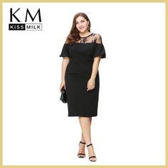 Kissmilk Women Plus Size Ruffles Shoulder Midi Party Dress OL Sexy Lace Dress Patchwork Bodycon Big Size Pencil Dress 5XL 6XL