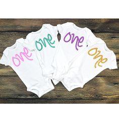 First Birthday Onesie One, One Year old Onesie, baby smash cake, birthday babe. Baby Onesie. Pink Glitter, Mint Glitter Onesie and more. by GABYROBBINSDESIGNS on Etsy