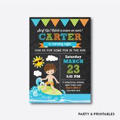 Surfer Boy Chalkboard Kids Birthday Invitation / Personalized (CKB.388)