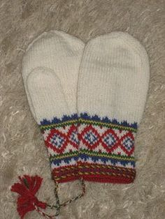 Mittens inspired from our natives: the samii-people/lapp people. They are to be knitted in bright white, . Crochet Mittens Pattern, Knit Mittens, Knitting Socks, Knitting Patterns, Knit Crochet, Knitted Slippers, Knitted Gloves, Norwegian Knitting, Knitting Projects