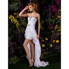 LAN+TING+BRIDE+Sheath+/+Column+Wedding+Dress+Two-in-One+Asymmetrical+Sweetheart+Chiffon+Lace+with+Crystal+Sash+/+Ribbon+–+USD+$+129.99
