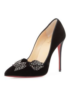 83d75dc84f01 Christian Louboutin Mlle Menule Velvet 100mm Red Sole Pump