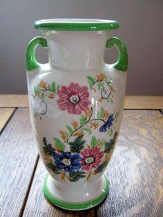 Vintage Shabby Chic Floral Handled Vase by SloFabulous on Etsy, $30.00