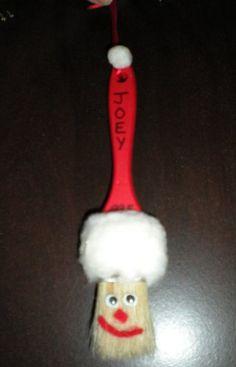 Handmade Christmas Ornaments   Paintbrush Santa Christmas Ornament - Homemade Christmas Ornaments