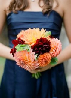 beyond the aisle: inspirations for a colorful fall wedding with navy bridesmaids